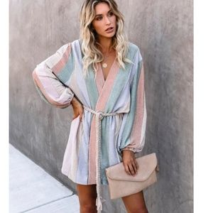 PEACE OF MIND BALLOON SLEEVE ROPE TIE WRAP DRESS